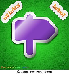 Information Road icon sign. Symbol chic colored sticky label on green background. Vector