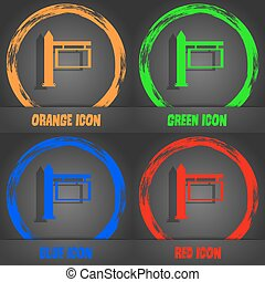 Information Road Sign icon sign. Fashionable modern style. In the orange, green, blue, red design. Vector