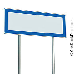 Information Road Sign Isolated, Blank Empty Signpost Copy Space For Icons, Pictograms, Large Roadside Info Signage Pole Post Signboard Pointer In Blue Black White Perspective