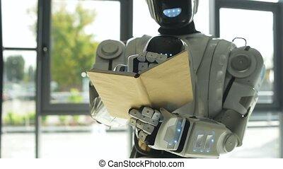 information, robot, noter, blanc, brillant