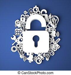 information, sécurité, concept.