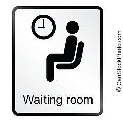 information, salle d'attente, signe