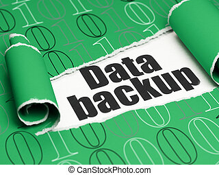 information, sauvegarde, texte, papier déchiré, noir, sous, morceau, données, concept: