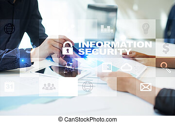 Information security and data protection concept on virtual screen.