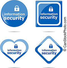 information security stickers label tag set isolated on white