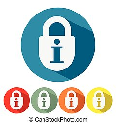 Information security web icon flat design
