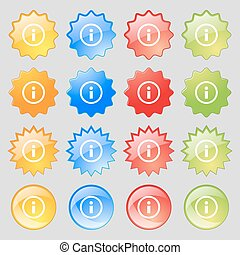 Information sign icon. Info speech bubble symbol. Big set of 16 colorful modern buttons for your design. Vector