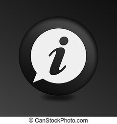 Info speech bubble symbol. Round black buttons.