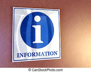 Information sign on a wall. Digital illustration.