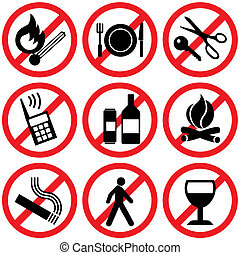 information signs - set of vector icons. Prohibitory...