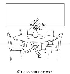 information., sketch., chairs., room., vase, ton, dîner, mur, illustration., flowers., table, vecteur, partie, cadre, main, dessiné, essayage