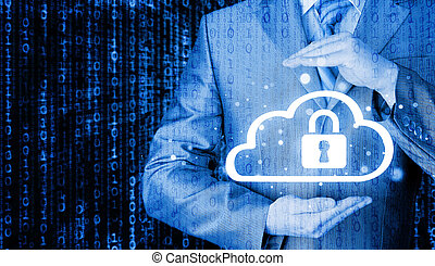 information, skydda, begrepp, data, moln