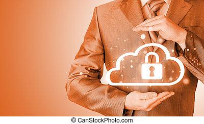 information, skydda, data, concept., moln