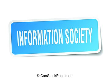 information society square sticker on white