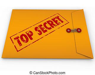 information, sommet, enveloppe, top secret, confidentiel