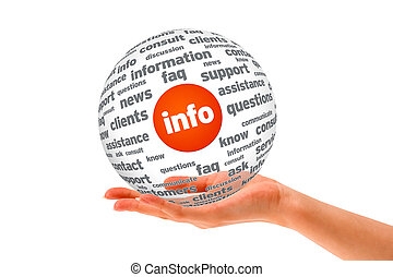 information, sphère, 3d, tenant main