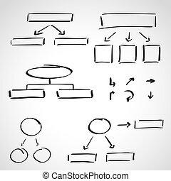 information, style, ensemble, encre, -, croquis, graphiques