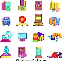 information, style, icônes, ensemble, obtention, dessin animé