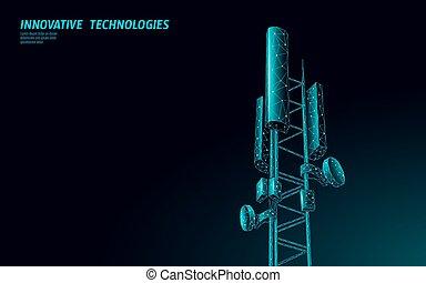 information, télécommunication, antenne, mobile, global, illustration, polygonal, connexion, vecteur, conception, tour, base, transmitter., station, 5g, cellulaire, receiver., radio, 3d
