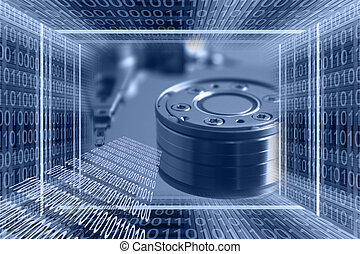 Information technologies background with binary code tunnel ...