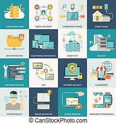 information, technologies, concept, plat, icônes