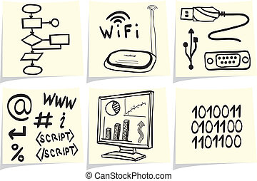 Information technology and internet sketch icons on yellow...