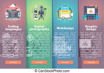 Information technology banners set. Digital photography. Programming. Web and graphic design. Education and science vertical layout concepts. Flat modern style.