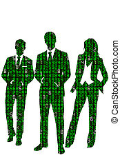 Concept illustration about business information technology represented by a group of business people silhouettes made out of digits