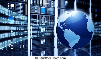 Internet or Information technology conceptual image. With a globe placed in front of computer server cabinets