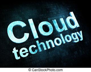 Information technology concept: pixelated words Cloud technology on digital screen, 3d render