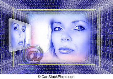 Information technology. E-mail concept with a luminous girl...