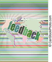 Information technology IT concept: words Feedback on screen vector illustration