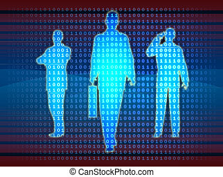 Bussinesman silhouettes emerge from a binary data stream. Digital illustration.