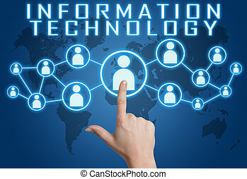 Information Technology concept with hand pressing social...