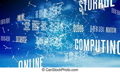 Information technology text with polygonal connecting dots and lines