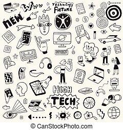information technology vector doodle set , design elements
