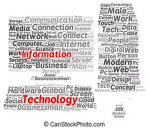 Information technology word cloud shape