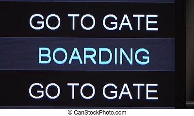 information, temps, nouveau, aller, fin, abordant porte, istanbul., exposer, anglaise, haut, aéroport, turc, table, inscription