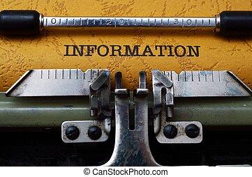 information, text, på, skrivmaskin