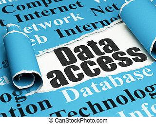 information, texte, déchiré, accès, papier, noir, sous, morceau, données, concept: