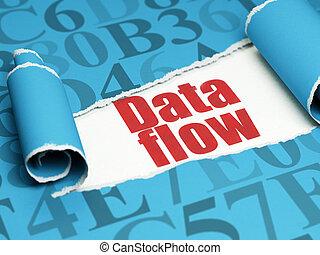 information, texte, déchiré, couler, papier, rouges, sous, morceau, données, concept: