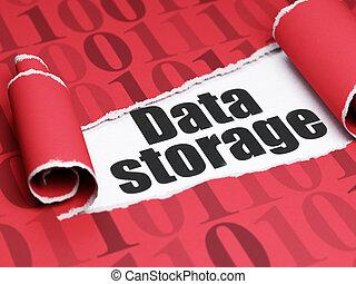 information, texte, déchiré, stockage, papier, noir, sous, morceau, données, concept:
