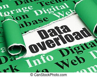 information, texte, déchiré, surcharge, papier, noir, sous, morceau, données, concept:
