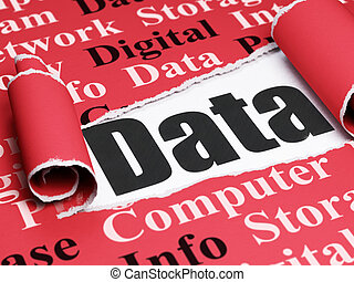 information, texte, papier déchiré, noir, sous, morceau, données, concept: