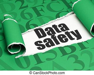 information, texte, papier déchiré, sécurité, sous, noir, morceau, données, concept:
