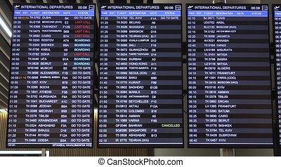 Information time table of departures with info. Inscription ...