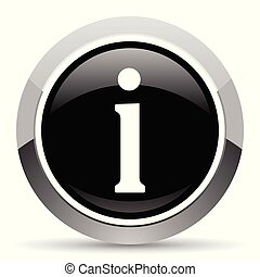 Information vector steel icon. Chrome border round web...