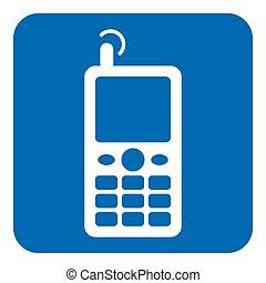 information, vieux, bleu, mobile, -, signe, téléphone, blanc