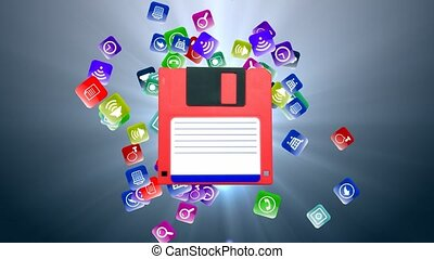 information, vieux, disquette, carriers., stockage,...