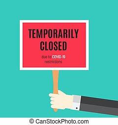 Information warning temporarily closed sign of coronavirus ...